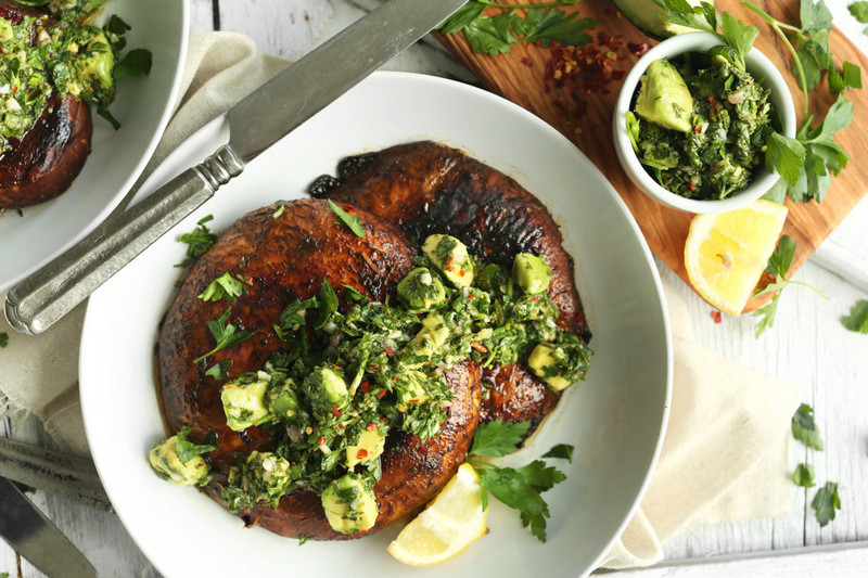 Vegan Portobello Mushroom Recipes with Tasty Avocado Chimichurri