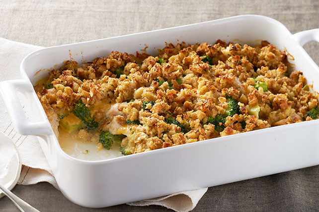 Chicken casserole with stove top stuffing and cheese