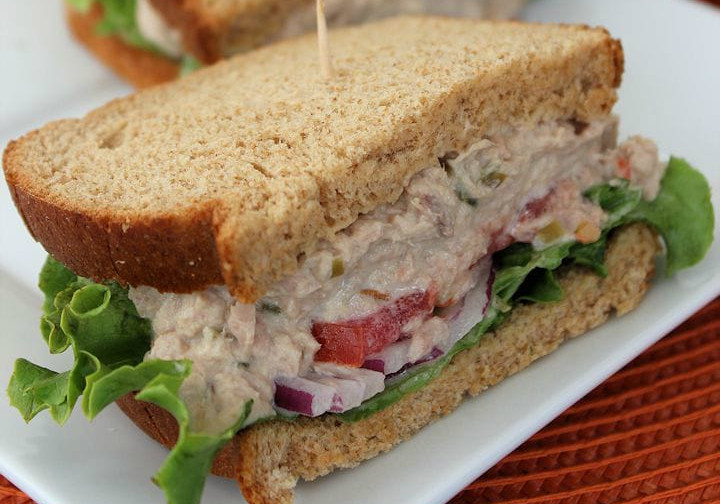 Panera bread tuna salad sandwich on black pepper focaccia