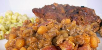 Casserole of Bush's Baked Beans with Ground Beef and Bacon Topping