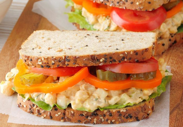Dilly Sandwiches with Soaking Garbanzo Beans and Salad