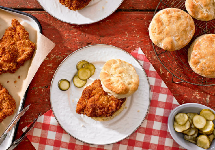 Fried Church's Chicken Biscuits with Honey-Butter Sauce
