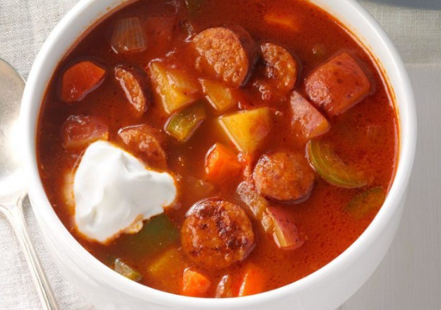 Red Andouille Sausage Publix Soup with Tomato and Worcestershire Sauce