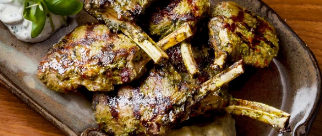 Spicy Longhorn Lamb Chops with Smoked Aubergines