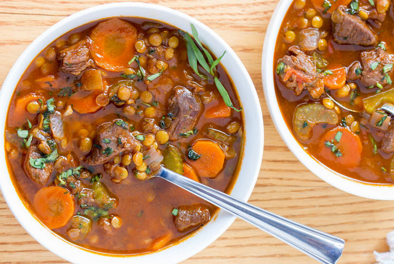 Traditional Italian Giada Lentil Soup with Beef Cubes